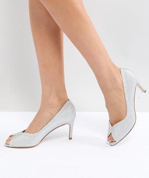 ◎美國代買◎ASOS同材質緞帶式滾邊露趾設計氣質晚宴婚禮款露趾銀色金葱高跟鞋~歐美街風~大尺碼
