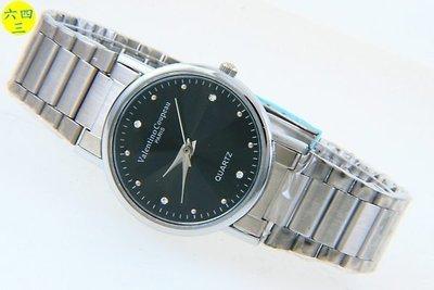 (六四三精品)Valentino coupeau(真品)斯文型不銹鋼錶帶.精準男錶(附保証卡)黑面