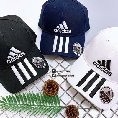 【豬豬老闆】Adidas 6P 3S CAP 老帽 黑 白 深藍 三線 刺繡Logo 運動 復古 後方可調