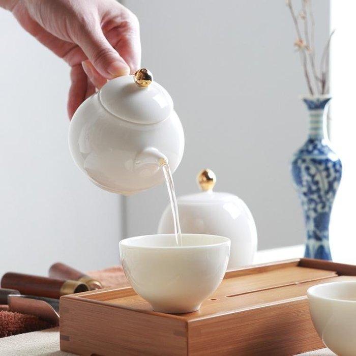紅英陶瓷玉白瓷功夫茶具套裝簡約便攜旅行茶壺茶盤茶杯Y-優思思