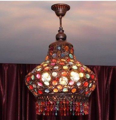 {美學}波西米亞地中海臥室客廳燈復古餐廳吊燈古銅吊燈水晶燈36cmMX-2161