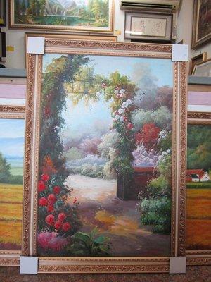 『府城畫廊-手繪油畫』歐風-花園風景畫-筆法細膩獨特-72x102-(含框價,可換框)-有實體店面-請查看關於我聯繫-