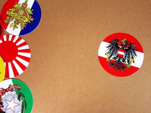 【衝浪小胖】奧地利國徽旗圓形登機箱貼紙/抗UV防水/Austria/世界多國款可客製