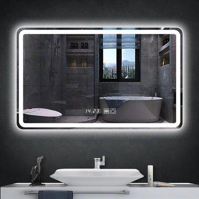 智能浴室鏡子衛生間洗手漱臺帶led燈觸摸屏廁所化妝防霧鏡壁掛墻小豬佩奇
