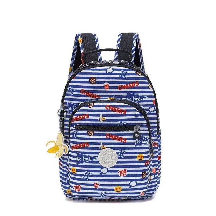 現貨 Kipling 猴子包 新款 K00097 俏皮條紋猴 表情包系列 拉鍊夾層輕量雙肩後背包 中號 防水 限時優惠