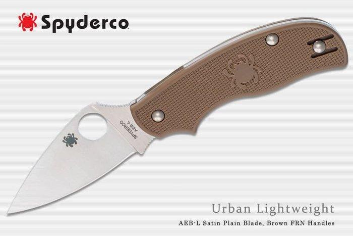 【angel 精品館 】Spyderco Urban棕FRN輕量柄平刃無鎖定折刀AEB-L鋼C127PBN