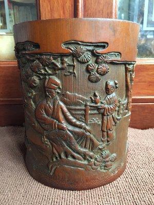 【小小莊子】早期老竹雕筆筒/筆海《羲之愛鵝圖》