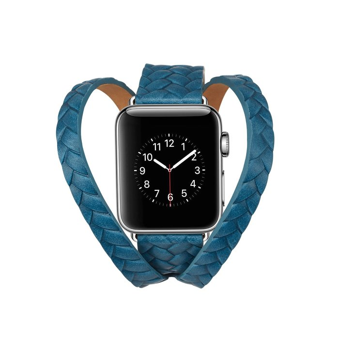 适配 苹果 Apple watch4 手錶帶 编织双圈 真皮腕帶  iWatch4/1/2/3 替換腕帶 時尚簡約 錶帶