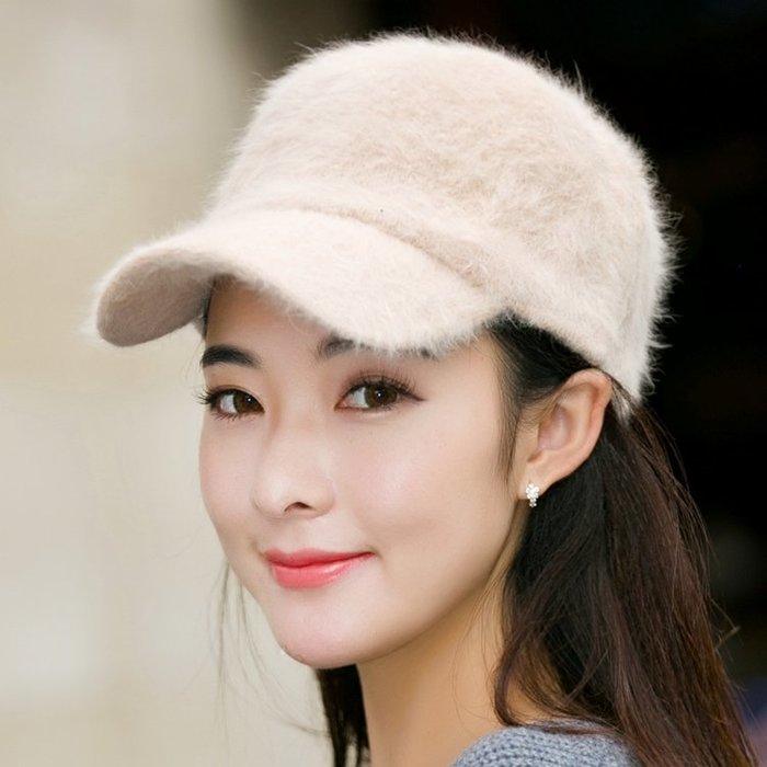冬季保暖孕婦帽純色兔毛針織月子帽 女士韓版潮秋冬天毛線鴨舌帽
