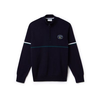 Lacoste Men's Zippered Stand-Up Collar Piped Cotton Sweater