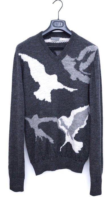 【DIOR HOMME】12AW V領和平鴿羊駝毛 灰針織衫 毛衣 S