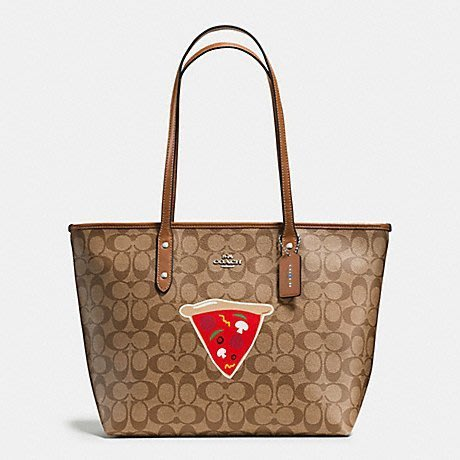 COACH 肩背包托特包限量紐約系列 披薩圖案駝色母親節全新100%正品全省專櫃可送修保養特價5990