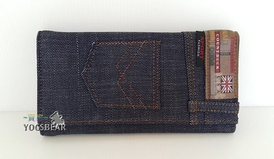 【YOGSBEAR】牛仔 C  男女適用 COUNTDUCK 錢包 卡包 手拿包 帆布皮夾 錢夾 皮包 三折長夾 黑