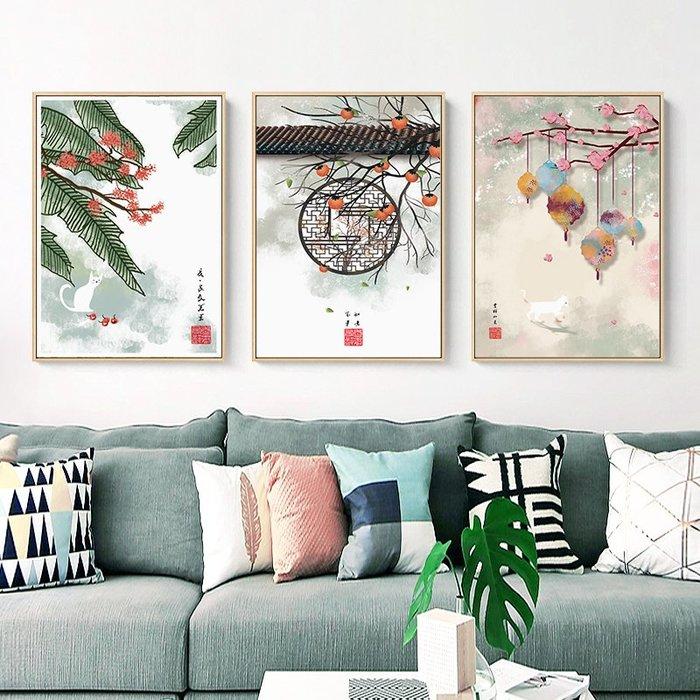 新中式禪意復古風民俗裝飾畫畫芯微噴繪打印畫芯掛畫壁畫畫心(不含框)