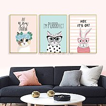 北歐現代可愛萌貓卡通兔子裝飾畫畫芯客廳掛畫