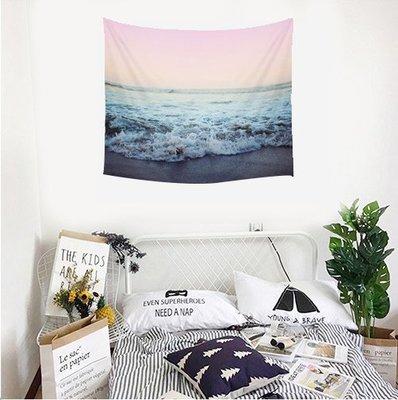 【現貨】北歐風掛毯掛布 海浪 海邊 海景 風景 海景房 度假 粉色海浪 兒童房 掛布 背景布 沙灘巾 野餐巾 裝飾掛飾