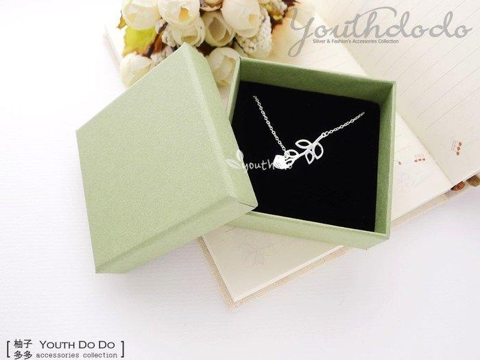 文青風素面綠色項鍊盒黑色內墊包裝盒婚禮小物(大)(SMB-084B)~*╮柚子多多╭*
