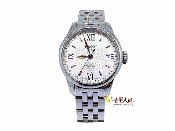 *奢華大道國際精品*【W0493】TISSOT Le Locle 力洛克系列圖騰紋機械女錶-白/25mm