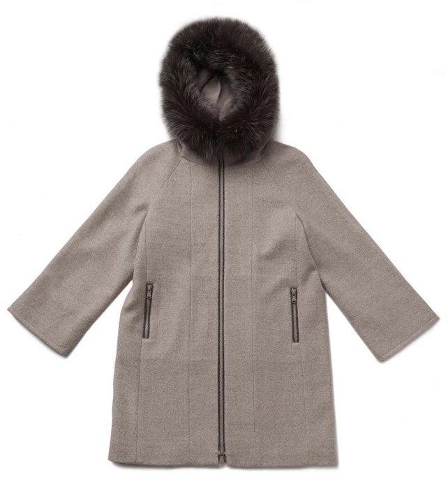 釘珠狐狸毛連帽設計毛呢大衣 35%羊駝➕50%羊毛 超厚狐毛掛帽