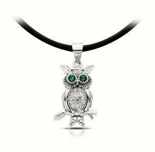 Kapal Laut Jewellery 巴里島手工純銀925項鍊 貓頭鷹/天鵝鑲鑽銀飾項鍊Owl /Swan zircon silver pendant