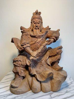 樟木雕刻 關聖帝君 錦雕白身 1尺3加大體 持劍關公 文衡聖帝