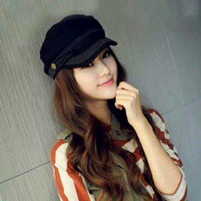 ZS 韓國熱賣 毛呢帽 女帽 軍帽 蕾絲帽 黑色 現貨