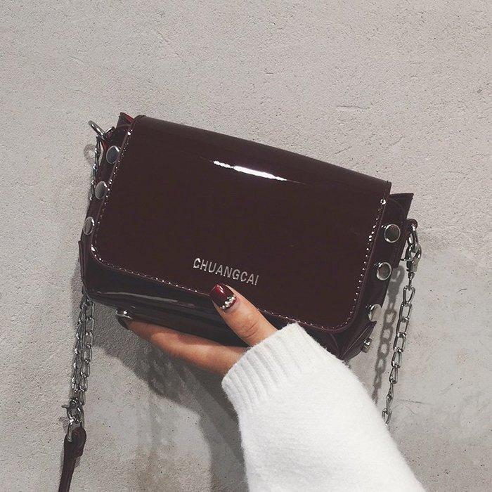 XINXIN女包漆皮小包包女韓版 時尚新款 日韓系列 迷人包 女生包新款秋季女包時尚復古鏈條小方包ins超火斜挎包