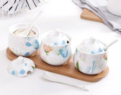陶瓷調料盒廚房用品家用調味罐調味盒調味料瓶佐料鹽罐三件套套裝 現在有各種小禮物隨機送唷