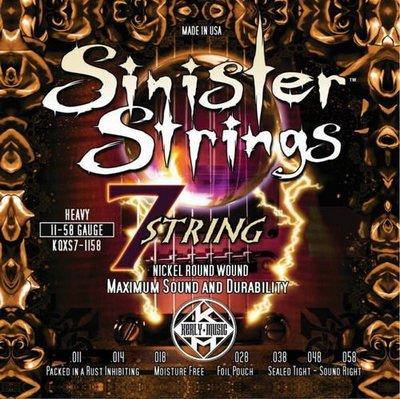 ☆ 唐尼樂器︵☆ Kerly Strings Sinister 系列冰火弦 KQXS-1158 (11-58) 美製電吉他弦(7弦/七弦用)