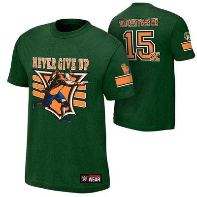 2015新款摔角衣服 WWE John Cena 15X 賽納15X接受挑戰綠色短袖T恤 買三免運