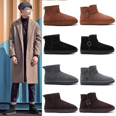 小跑牛鞋雪地靴男冬季保暖加絨加厚女靴子防滑大碼情侶面包鞋真皮東北棉鞋