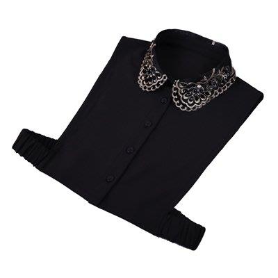 假領子 襯衫 領片-雪紡鑲鑽串珠刺繡女裝配件73va3[獨家進口][米蘭精品]