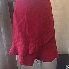 《寶兒花園》0918荷葉滾邊波浪交叉裙擺紅色氣質美女短裙