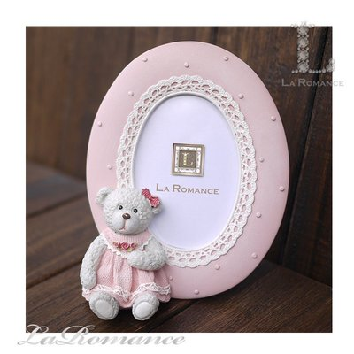 【義大利 Cupido & Company 特惠系列】 粉色女生小熊橢圓2.5 x 3.5相框 / 泰迪熊 / 童趣動物