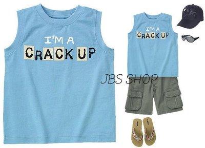 GYMBOREE粉藍色 I`m a Crack Up 圖案無袖上衣  7yrs  **JBS SHOP**