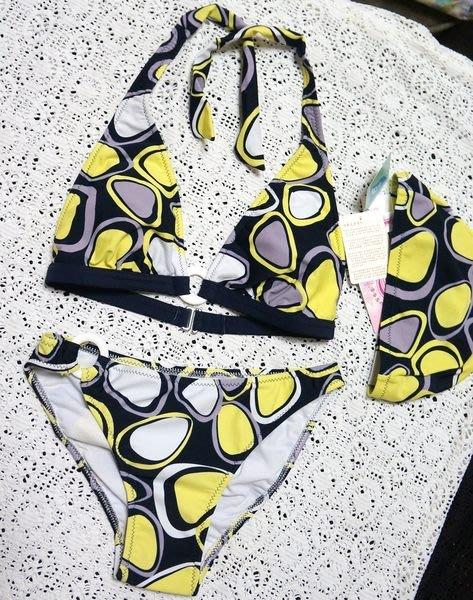 KINI出清特價590-蘋果牌APPLE泳裝-時尚性感風格-黑黃撞色普普風-二件式比基尼M/L