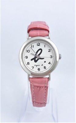 【Jessica潔西卡小舖】艾格尼絲 agnes b.經典粉色皮帶石英錶 台北市