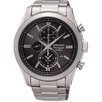【金台鐘錶】SEIKO精工 計時腕錶-黑/43mm  防水100M (SNAF67P1)