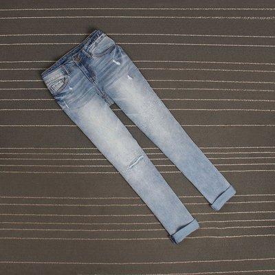 薄款BF風淺藍色刺繡破洞挽邊寬松直筒褲女九分褲