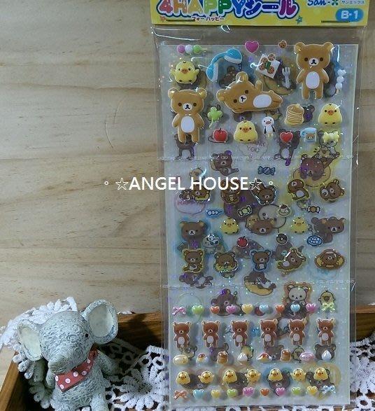 。☆ANGEL HOUSE☆。日本進口**San-x 懶懶熊**午茶點心泡泡貼紙(2入)122