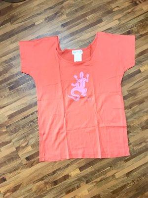 全新品。法國Agnes b淡橘色短袖T恤(1號)蜥蜴圖案