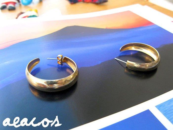 AEACOS@古董 古著 vintage retro MODs 前衛 摩登 冷冽感 工業風 淡金色 C形 針式耳環