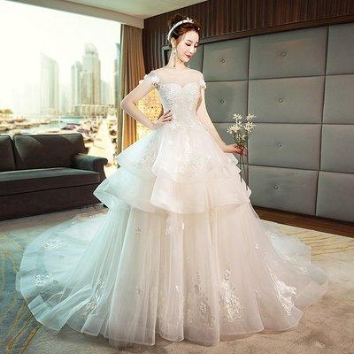 婚紗 禮服 婚紗禮服女2019新款抹胸齊地新娘結婚法式復古長拖尾公主夢幻顯瘦