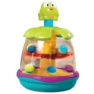 @企鵝寶貝二館@美國Kids Ⅱ Bright Starts旋轉小蛙-轉動-彈跳玩具