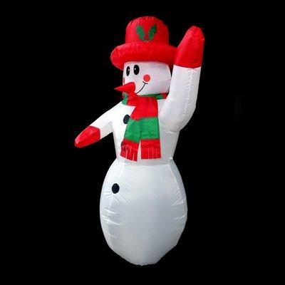 聖誕節充氣雪人派對佈置 1.8米充氣紅帽圍巾雪人(#Q1-51)