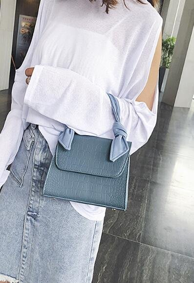 FINDSENSE X 韓國 女士 時尚 鱷魚紋 個性繩結手提 百搭 小方包 單肩包 斜挎包