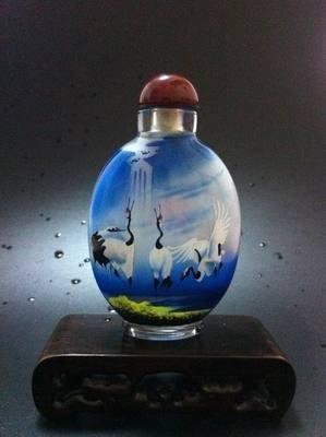 鳴鶴圖2內畫鼻煙壺中國特色手工藝品中國風外事商務小禮品手繪送長輩 壺說69