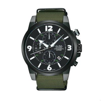 可議價「1958鐘錶城」ALBA雅柏ACTIVE男 三眼計時尼龍錶帶 石英腕錶(AM3401X1)45mm