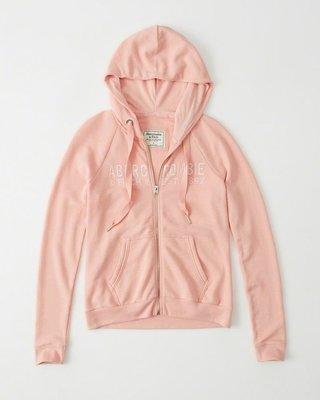 Maple麋鹿小舖 Abercrombie&Fitch * AF 粉橘色電繡字母連帽外套*( 現貨S號 )