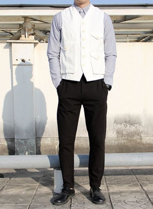 【NoComment】美式工裝 街頭時尚 素面口袋工作休閒背心 黑白兩色 Zara H&M
